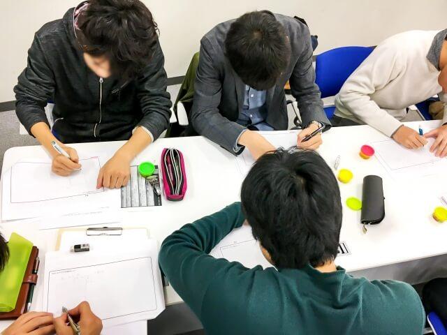 集団で勉強する中学生